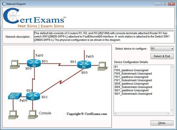 network simulator screen shots lab exercise diagramtypical lab exercise diagram   screen shot